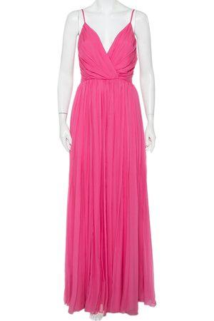 Dior Women Sleeveless Dresses - Christian Silk Chiffon Pleated Sleeveless Gown M