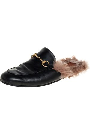 Gucci Leather And Fur Princetown Mules Size 44.5