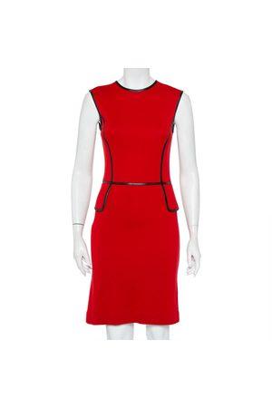 Tory Burch Wool Contrast Leather Trim Detail Sleeveless Sheath Dress XS