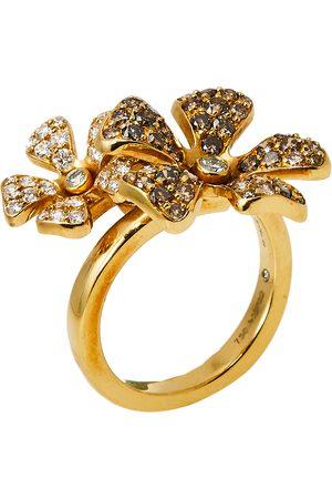 De Beers Women Rings - DeBeers Wildflower Diamond 18K Gold Double Flower Ring Size 54