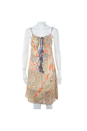 M Missoni Printed Silk Sleeveless Tie Detail Midi Dress S