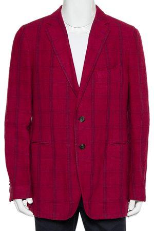 Etro Magenta Plaided Linen & Cashmere Button Front Blazer XXL