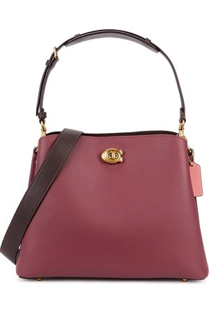 Coach Willow raspberry grained leather shoulder bag