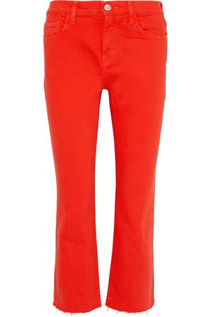 Current/Elliott Woman The Kick Cropped Mid-rise Straight-leg Jeans Tomato Size 29