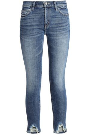 Current/Elliott Women Skinny - Woman Zayden Cropped Distressed Mid-rise Skinny Jeans Dark Denim Size 29