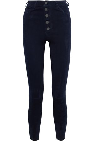 ALICE+OLIVIA Woman Mikah Stretch-suede Skinny Pants Navy Size 0
