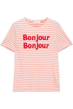 Chinti & Parker Women Short Sleeve - Woman Appliquéd Striped Cotton-jersey T-shirt Coral Size L