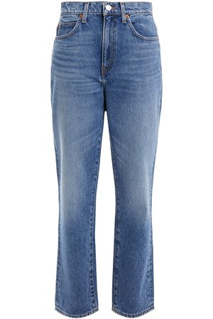 RE/DONE Woman Faded High-rise Straight-leg Jeans Mid Denim Size 25