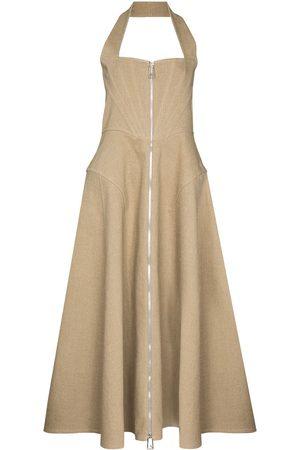 Bottega Veneta Corset-style halterneck midi dress - Neutrals