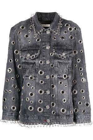 Philipp Plein Women Denim Jackets - Ring-detail denim jacket - Grey