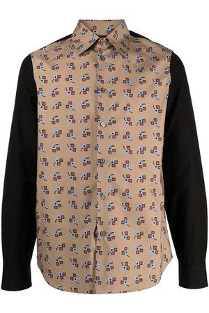 Marni Men Shirts - Contrast-panel printed shirt
