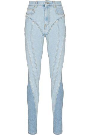 MUGLER High-rise panelled skinny jeans