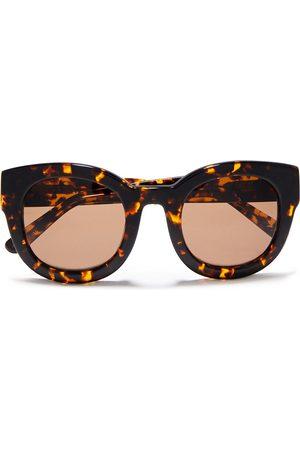 Ganni Woman Round-frame Acetate Sunglasses Dark Size