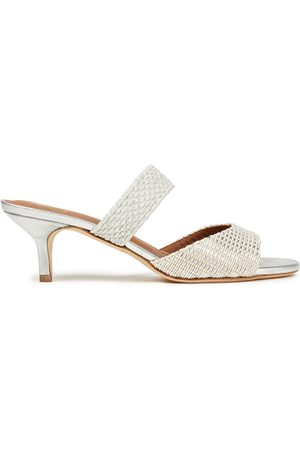 MALONE SOULIERS Women Heeled Sandals - Woman Milena 45 Braided Cord And Woven Lurex Mules Size 38.5