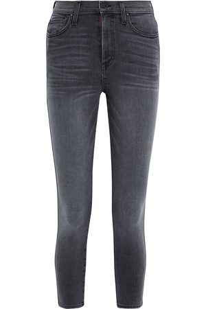 ALICE+OLIVIA Woman Good Cropped Faded High-rise Skinny Jeans Dark Denim Size 24