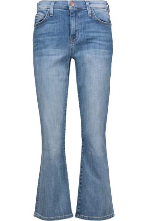 Current/Elliott Woman Kick Cropped Mid-rise Flared Jeans Light Denim Size 28