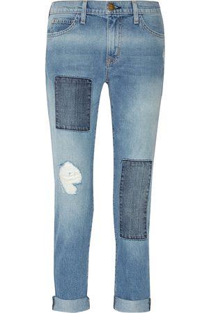 Current/Elliott Woman Cropped Distressed Patchwork Boyfriend Jeans Light Denim Size 24