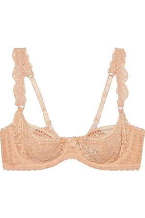 STELLA MCCARTNEY Woman Ophelia Whistling Lace Underwired Balconette Bra Peach Size 32 B