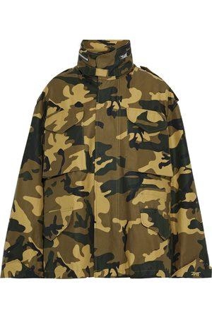 Reebok Woman Printed Cotton-canvas Jacket Army Size L