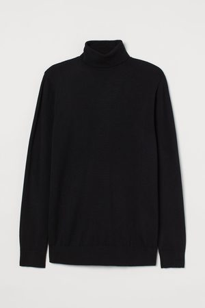 H&M Men Turtlenecks - Fine-knit Turtleneck Sweater