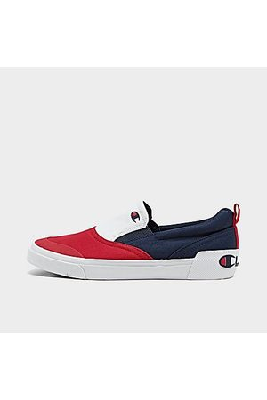 Champion Boys' Big Kids' Prowler Slip-On Casual Shoes in Red/Navy Size 4.0 Canvas/Suede