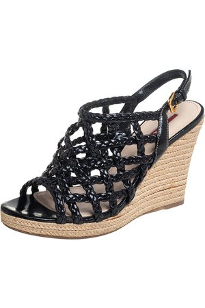 Prada Braided Leather Cage Wedge Espadrille Slingback Sandals Size 36