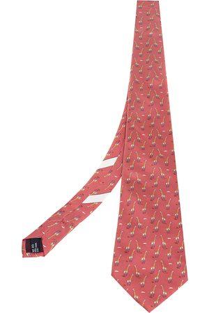 Salvatore Ferragamo Salmon Giraffe Print Silk Tie
