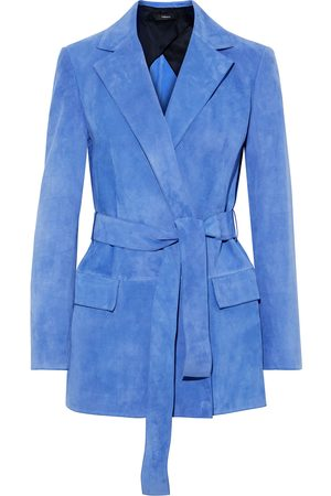 THEORY Woman Belted Suede Blazer Azure Size 2