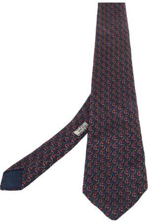 Hermès Hermés & Red Anchor Print Silk Tie