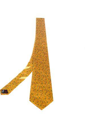 Salvatore Ferragamo Chrome Floral Print Silk Tie