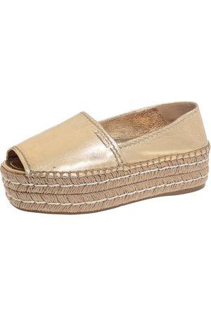 Prada Metallic Leather Peep Toe Platform Espadrilles Size 36