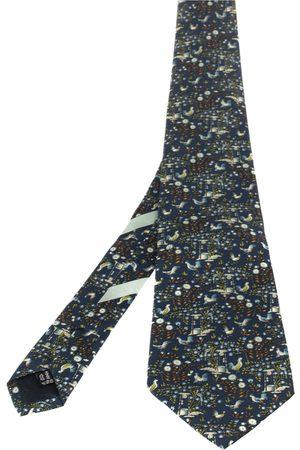 Salvatore Ferragamo Men Neckties - Navy Well Print Silk Tie