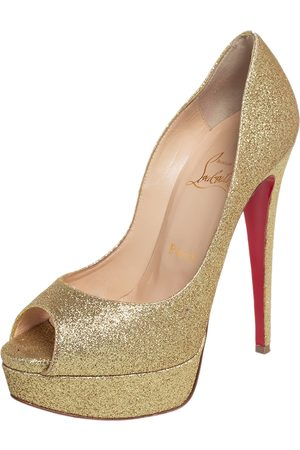 Christian Louboutin Women Platform Pumps - Glitter Lady Peep Toe Platform Pumps Size 36.5