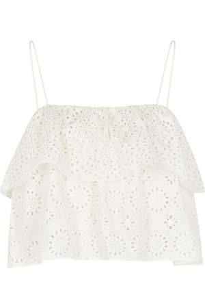 ALICE+OLIVIA Women Camisoles - Marylynn ivory broderie anglaise top