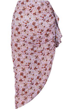VERONICA BEARD Hazel floral-print ruched asymmetric skirt