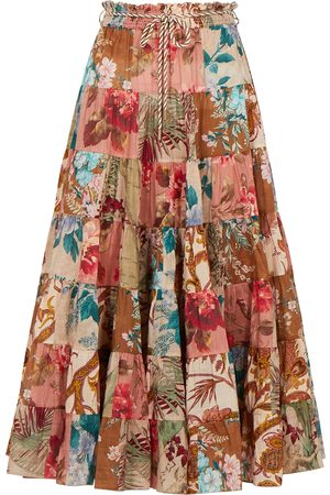 ZIMMERMANN Women Printed Skirts - Cassia floral-print cotton midi skirt