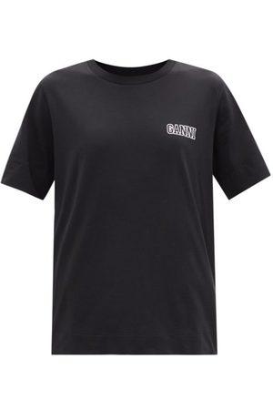 Ganni Logo-print Cotton-blend Jersey T-shirt - Womens