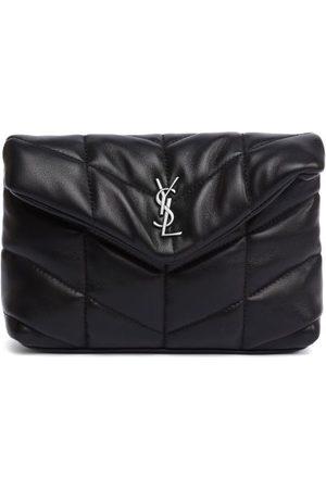 Saint Laurent Ysl-plaque Leather Puffer Clutch - Womens