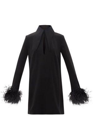 16Arlington Michelle Feather-trim Crepe Mini Dress - Womens