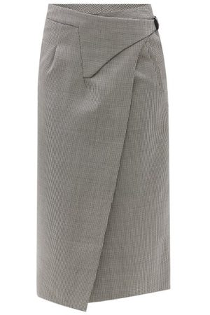 WARDROBE.NYC Release 05 Houndstooth Wool Wrap Midi Skirt - Womens