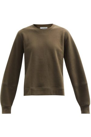 Ganni Software Organic-cotton Blend Sweatshirt - Womens - Khaki