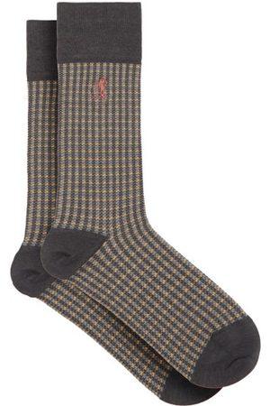 London Sock Company Shaken And Stirred Check Cotton-blend Socks - Mens