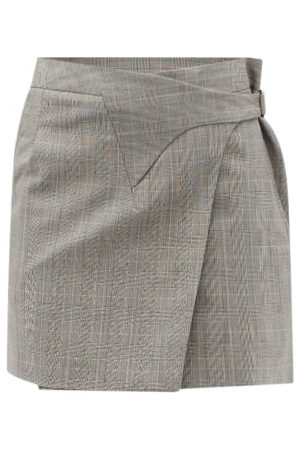 WARDROBE.NYC Release 05 Prince Of Wales-check Wool Wrap Skirt - Womens - Grey