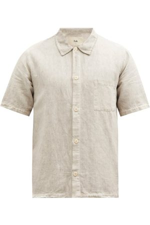 Folk Men Short sleeves - Seoul Linen Short-sleeved Shirt - Mens - Light Grey