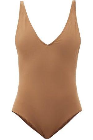 Totême Deep V-neck Recycled-fibre Swimsuit - Womens - Light