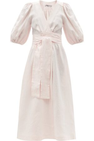 Three Graces London Fiona Puff-sleeve Linen Midi Wrap Dress - Womens - Light