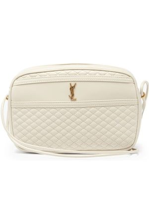 Saint Laurent Women Purses - Ysl-plaque Quilted-leather Cross-body Bag - Womens - Ivory