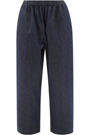 Eskandar Elasticated-waist Cropped Wide-leg Jeans - Womens - Denim