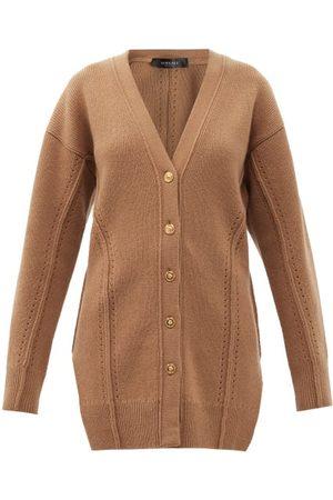 VERSACE Side-slit Longline Wool-blend Cardigan - Womens - Camel