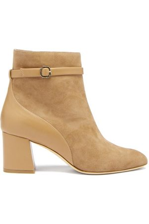 MALONE SOULIERS Kloe Suede And Leather Ankle Boots - Womens - Tan